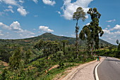 Road with mountains in the background, near Mudasomwa, Southern Province, Rwanda, Africa