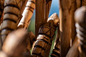 Detail of walking sticks in preparation for a hike through the jungle to the Canopy Walkway, Nyungwe Forest National Park, Western Province, Rwanda, Africa