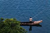 Canoe used by fishermen on Lake Kivu, Cyangugu, Kamembe, Western Province, Rwanda, Africa