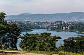 View over Lake Kivu with the city of Bukavu in the Democratic Republic of the Congo in the distance, Cyangugu, Kamembe, Western Province, Rwanda, Africa