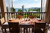 Table setting in the restaurant of the Rushel Lodge on the banks of Lake Kivu, Kinunu, Western Province, Rwanda, Africa