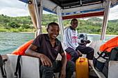 Skipper and first officer of excursion boat on Lake Kivu, Kinunu, Western Province, Rwanda, Africa