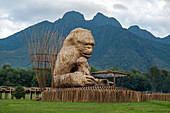 Giant wooden gorilla sculpture built from sticks, Volcanoes National Park, Northern Province, Rwanda, Africa