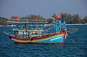 Colorful fishing boat, near Duong Dong, Phu Quoc Island, Kien Giang, Vietnam, Asia