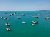 Aerial view of longtail fishing boats moored near Ganh Dau Beach, Ganh Dau, Phu Quoc Island, Kien Giang, Vietnam, Asia