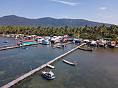 Aerial view of floating houses and restaurants, Rach Vem, Phu Quoc Island, Kien Giang, Vietnam, Asia