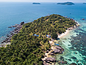 Aerial view of beach with coconut trees, Dam Ngang Island, near Phu Quoc Island, Kien Giang, Vietnam, Asia