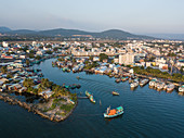 Aerial view of the port and downtown, Duong Dong, Phu Quoc Island, Kien Giang, Vietnam, Asia