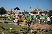 Pigeons and people in parkland outside the Royal Palace complex, Phnom Penh, Cambodia, Asia
