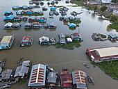 Aerial view of Kampong Prasat floating village on Tonle Sap River at dusk, Kampong Prasat, Kampong Chhnang, Cambodia, Asia