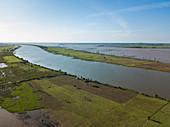 Aerial view of Tonle Sap River and rice fields, near Kampong Chhnang, Kampong Chhnang, Cambodia, Asia