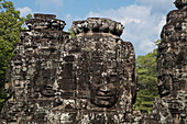 Huge faces carved in stone at the Bayon Temple, Angkor Wat, near Siem Reap, Siem Reap Province, Cambodia, Asia