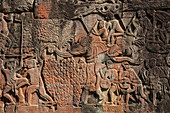 Bas-reliefs on wall of Bayon Temple in Angkor Thom, Angkor Wat, near Siem Reap, Siem Reap Province, Cambodia, Asia