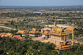 View of Prasat Nokor Vimean Sour Temple as seen from stupa on Mount Phnom Oudong, Oudong (Udong), Kampong Speu, Cambodia, Asia