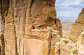 Aerial view of opening carved in rocks, entrance of Abuna Yemata Guh church, Gheralta Mountains, Tigray Region, Ethiopia, Africa