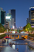 Cheonggyecheon Stream at dusk, Seoul, South Korea, Asia