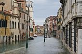 High tide in Venice in November 2019, Fondamenta della Misericordia, Venice, UNESCO World Heritage Site, Veneto, Italy, Europe