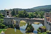 The Medieval arch bridge of Besalu, Girona province, Catalonia, Spain, Europe
