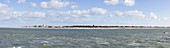 Island view from afar, North Sea, Panorama, Norderney, East Frisia, Lower Saxony, Germany