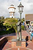 Lale Andersen monument (by Eva Recker), water tower, Langeoog, East Frisia, Lower Saxony, Germany