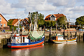 Harbor with shrimp cutters, boats,, Neuharlingersiel, East Friesland, Lower Saxony, Germany