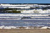 Waves on the beach, sea, North Sea, surf, spray, sand, Spiekeroog, East Frisia, Lower Saxony, Germany