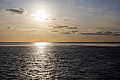 Sunset from the ferry, North Sea, East Frisia, Lower Saxony, Germany