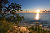 View from the high bank to the beach at Bansin, Usedom, Baltic Sea, Mecklenburg-Western Pomerania, Germany