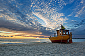 Fishing boat on the beach, Ahlbeck, Usedom, Baltic Sea, Mecklenburg-Western Pomerania, Germany
