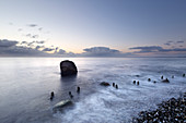 Boulder on the beach, chalk cliffs, chalk coast, Jasmund National Park, Rügen, Baltic Sea, Mecklenburg-Western Pomerania, Germany