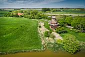 Stumpenser Mühle und Felder, Luftaufnahme, Horumersiel, Wangerland, Friesland, Niedersachsen, Deutschland, Europa