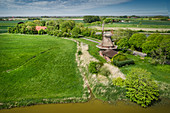 Stumpenser mill and fields, aerial view, Horumersiel, Wangerland, Friesland, Lower Saxony, Germany, Europe