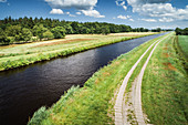The Ems-Jade Canal at Reepsholt, Friedeburg, Wittmund, East Frisia, Lower Saxony, Germany, Europe