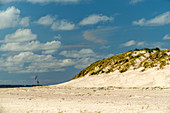 Dune and sandy beach on the North Sea under a blue sky with clouds, Spiekeroog, East Frisia, Lower Saxony, Germany, Europe