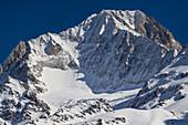 The Bietschhorn above Wiler in the Loetschental, Valais, Switzerland.