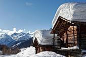 The huts of Kühmatt in the Loetschental, Valais, Switzerland.