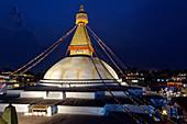 Evening at the stupa of Bodnath, Kathmandu, Nepal, Asia.