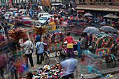 The hectic downtown of Kathmandu, Nepal, Asia.