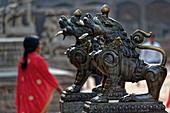 Temple guard in Durbar Square in Bhaktapur, Kathmandu Valley, Nepal, Asia.