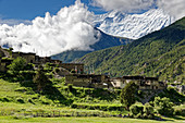 The traditional village of Braga in the Manang Valley, Nepal, Himalayas, Asia.
