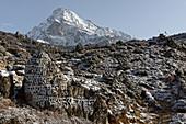 Fresh snow at Namche Bazar, Solo Khumbu, Nepal, Himalaya, Asia.