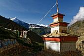 Choerten above the village of Phu, Nepal, Himalaya, Asia.