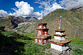 Chörten oberhalb vom Dorf Phu, Nepal, Himalaya, Asien.