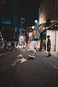 Skaters in the streets of Osaka, Japan