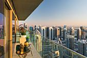 View from an apartment over the Dubai Marina, Dubai, United Arab Emirates