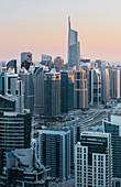 Jumeirah Lake Towers from Dubai Marina, Almas Tower, Sheikh Zayed Road, Dubai, United Arab Emirates