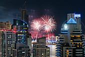 Fireworks over Bluewater Island, Dubai Marina, Dubai, United Arab Emirates