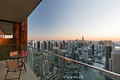 View from an apartment over the Dubai Marina, table with chairs, terrace, Dubai, United Arab Emirates