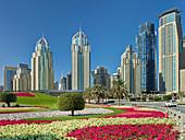 Green motorway junction, Sheikh Zayed Road, near Dubai Marina, Dubai, United Arab Emirates