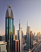 View over Sheikh Zayed Road to Rose Tower, Dubai, United Arab Emirates